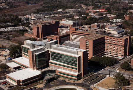 aerial view of UF Health Shands hospital complex