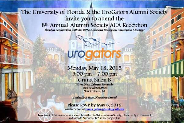 8th Annual AUA SAVE THE DATE - updated with rsvp info for Monday, May 18, 2015 from 5-7pm in New Orleans, LA