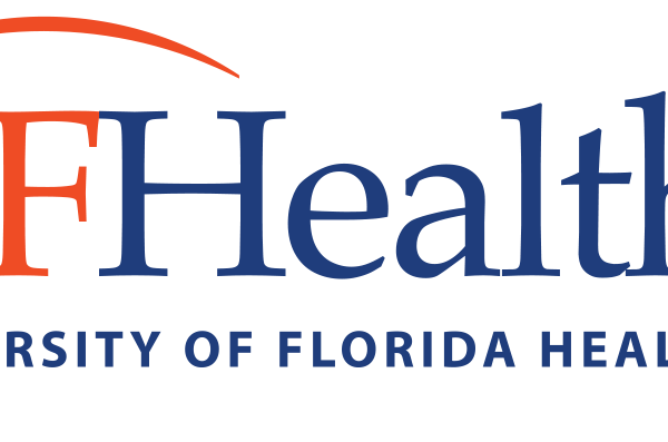 uf health logo. it has a white background and the letter uf are in orange and the words health is is blue. on the second line the words university of florida health is in blue.