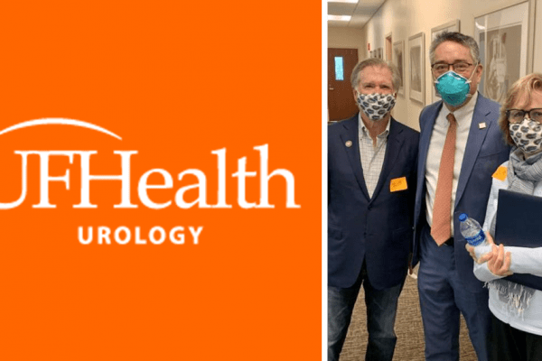 an orange block on the left with the uf health urology logo in the center. on the left is a pictured left to right are mr obendorf, doctor li-ming su and mrs. obendorf. the are all wearing face masks.