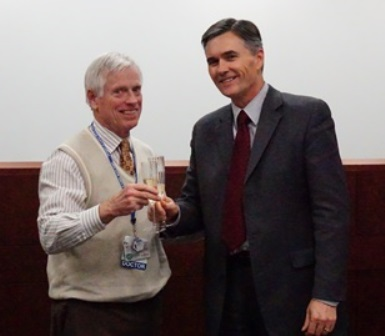 color photo of doctor Thomas F. Stringer and UF COM Dean Michael Good
