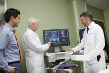 Dr. Stringer, Dr. Grajo and Dr. Otto working with UroNav machine