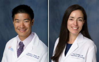 Side by side head shots. the left one is of Doctor Larry Yeung which is a medical doctor and faculty member. He is wearing a white lab coat with light colored collared shirt and a dark blue patterned tie. the photo on the right is of Doctor Paul Domino, who is a medical doctor and also a urology resident. She is wearing a white lab coat and dark blue blouse under it . The background on both photos is dark fading blue.