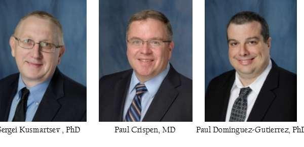 head shots of doctors Sergei Kusmartsev, Paul L. Crispen and Paul Dominguez-Gutierrez