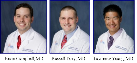 head shots of doctors Kevin Campbell, Russell S. Terry and Lawrence L. Yeung
