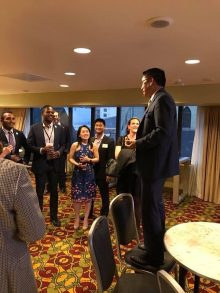 PICTURE OF DR SU SPEAKING TO GROUP AT THE AUA RECEPTION