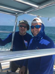 dr. terry and dr crispen on the boat