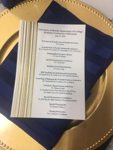 picture of the program for the resident graduation banquet