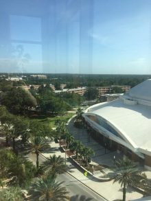 picture of the o'connell center from the 5th floor of the evans champion club at the resident graduation banquet
