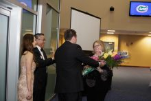 stephanie stenner presented flowers at the resident graduation banquet