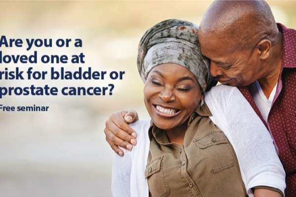 Poster about free seminar on at risk patients for bladder or prostate cancer