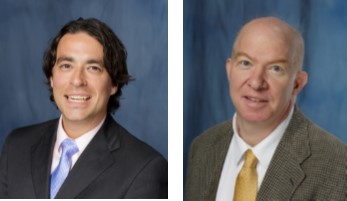 The photo on the left is Doctor Benjamin Canales a medical doctor who is wearing a black jacket with a light pink collared shirt and a light blue tie. He has dark hair and is smiling. The photo on the right is Doctor Vincent Bird a medical doctor who is wearing a brown tweed jacket with a white collared shirt and a gold tie. The background of both photos is dark blue.