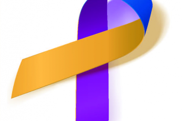 Ribbon is dark purple, blue and gold ribbon showing bladder cancer support