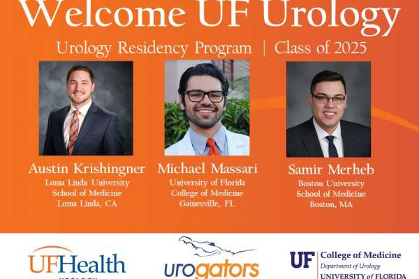 Austin Krishingner, Michael Massari and Samir Merheb. Medical Students that will begin their residency with the University of Florida Department of Urology in July 2020