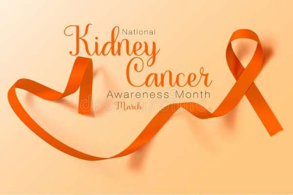 The words National Kidney Cancer Awareness Month March are in dark orange on a lighter orange background. There is a dark orange ribbon to the right of the words and trailing below the words.