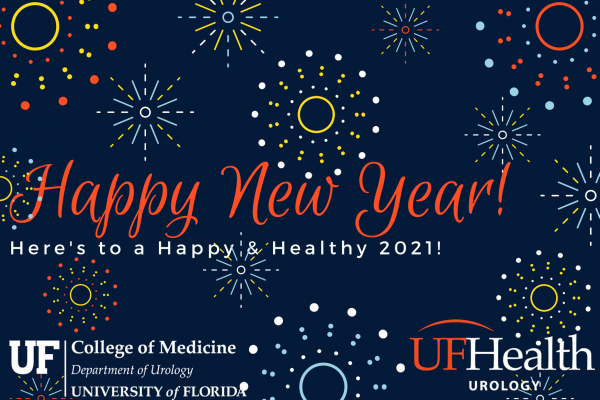 a dark blue background with different color firework type colors in mutlple round circles. the text reads Happy New Year! Here's to a Happy & Healthy 2021!