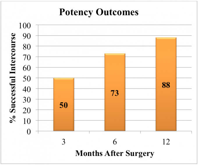chart entitled potency outcomes.  the vertical title to the left is percentage successful intercourse with the values of 0, 10, 20, 30, 40, 50, 60, 70, 80, 90, 100. the horizontal title is months after surgery with the values of 3, 6 and 12.  the column depicting 3 months after surgery is orange and shows the numeric value of 50, which is the percentage of successful intercourse after 3 months of surgery.   the second column depicting 6 months after surgery is orange and shows the numeric value of 73, which is the percentage of successful intercourse after 6 months of surgery.  the third column depicting 12 months after surgery is orange and shows the numeric value of 88, which is the percentage of successful intercourse after 12 months of surgery.