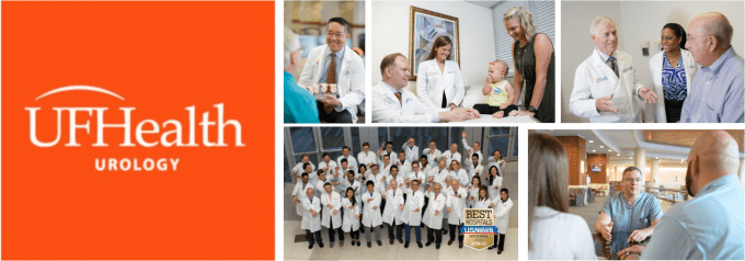 an orange block with uf health uroloy writen in white with multiple pictures of faculty interacting with patients.