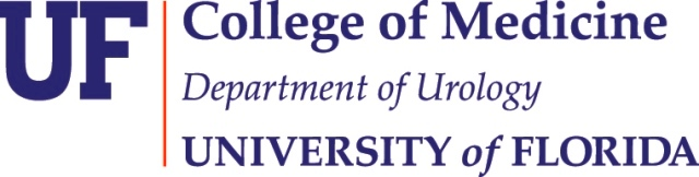 logo that reads uf college of medicine department of urology university of Florida. The letters are in dark blue and there is dark orange vertical line between the UF and the reset of the words.