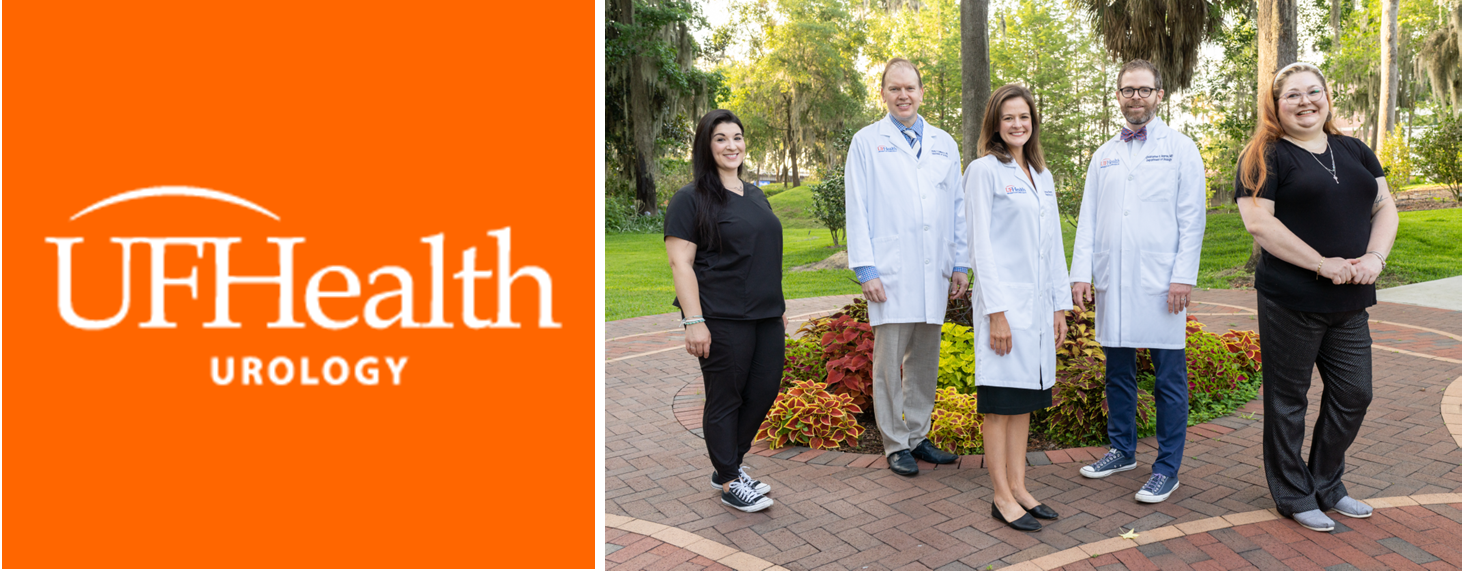 a newsletter logo. the left side has an orange background with the words uf health urology in white. the right side is a group photo. the uf health urology pediatric team is pictured. emily wolf dressed is black scrubs is on the far left. Next to her is doctor demarco dressed in a white doctors coat, blue collared shirt and blue multi colored tie. He has on khaki pants. Next is Lindsay rohan dressed in a black dress with white doctors coat. Doctor chris bayne is next to her dressed in a white doctors coat, white collared shirt and orange and blue bow tie. On the far right next to doctor bayne is amber stanle. She is dressed in black scrubs.