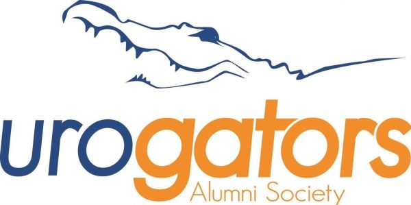 urogators logo alumni society. Uro is in medium blue and gators and Alumni Society are in orange. There is a thin outline drawing of a gator head and partial back.