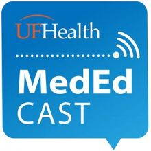 Photo of words, the first is UF, in dark orange, and then the word Health in white with a medium blue background. Below that is a symbol consisting of eleven small dots training from left to right and ending at one larger dot, then three crescent shaped lines increasing from short to medium to long in length stacked with spaces between each line in upper right corner of large dot in white on a medium blue background, Below that symbol the words Medical Education Cast in white on a medium blue background.