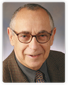 zev wajsman is wearing a dark brown suit with a dark gray collared shirt and a gold tie with small dark designs.   he is an older gentleman with dark gray balding hair and is wearing dark framed eyeglasses. The background of the photo is a light gray.