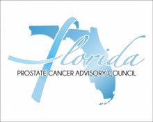 Graphic of the UFPDC Prostate Cancer Advisory Council.  It has a white background with the words Florida Prostate Cancer Advisory written in blue.  The state of Florida is behind the text and it is blue.