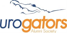 graphic of UroGators Logo.  It has a white background with Uro written in blue and Gators written in orange.  Alumni Society is written in orange under the word gators.  There is the outline of a gator head in blue above the word UroGators.