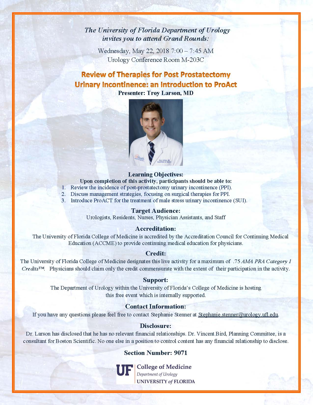 picture of grand rounds flyer for dr troy larson