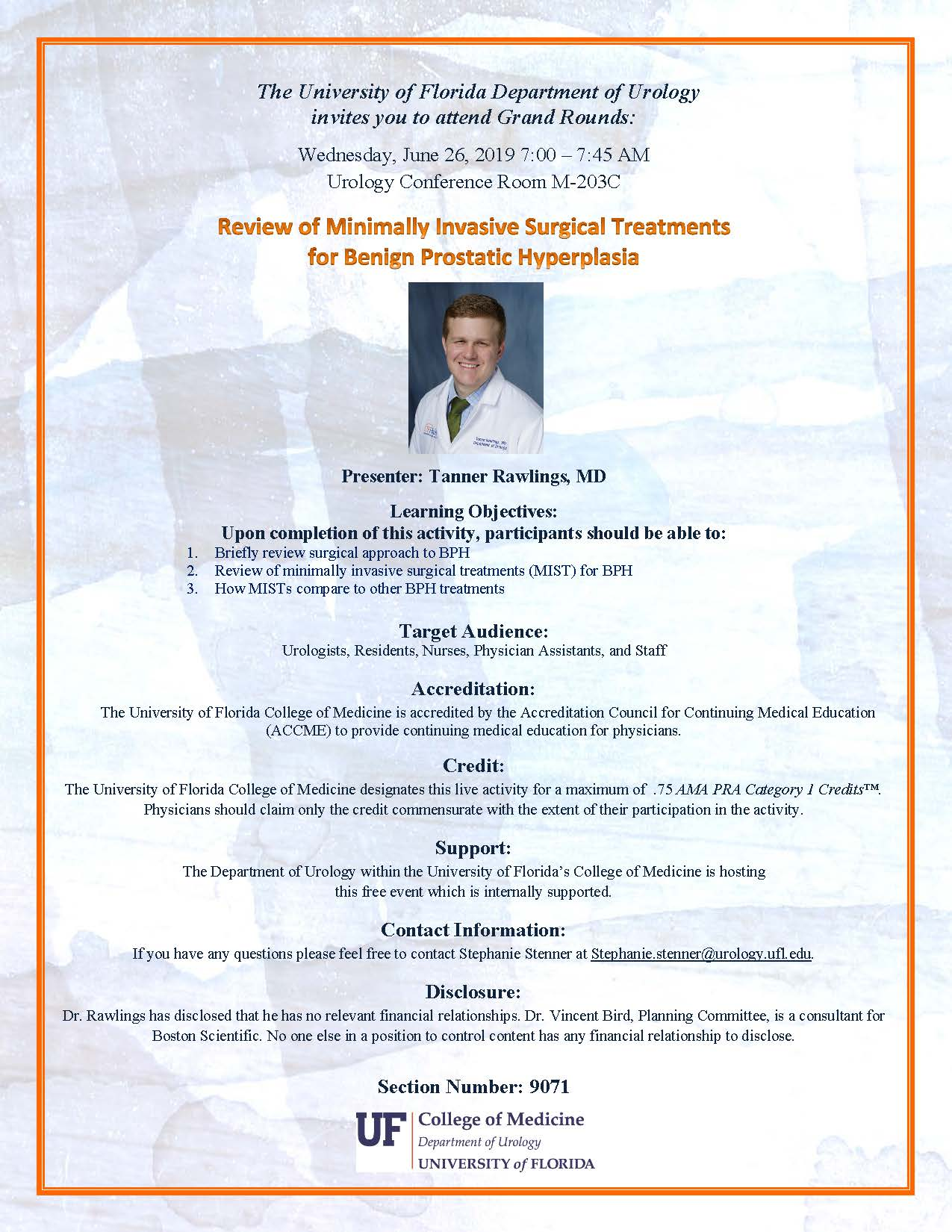 picture of grand rounds flyer for Tanner Rawlings, MD
