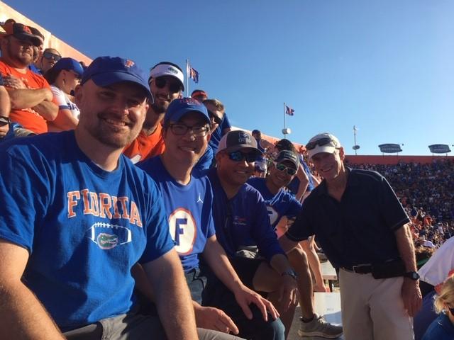 group at football game