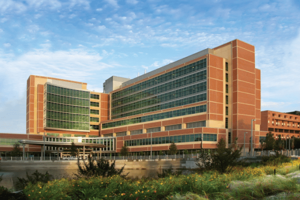 Photo of a large hospital type building with lots of office type windows. The building is reddish brown and tan. There is a covered entry and there are flowering plants in the forefront. Blue sky with white wispy clouds in the background.
