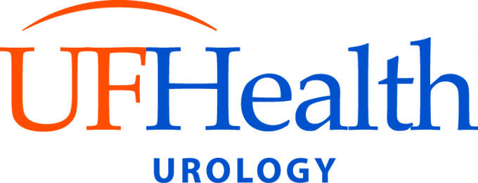 the logo has a white background. the letters UF are in orange and the words health and urology are in blue
