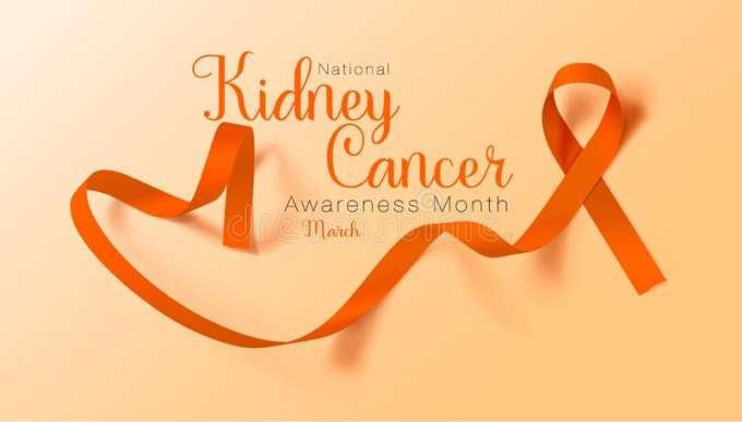 light orange background. in a darker orange are the words national kidney cancer awareness month march. a ribbon in the same darker orange is to the right of the words.