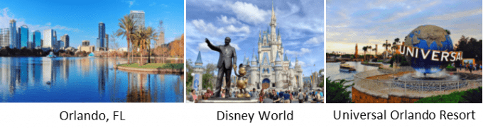 a group of 3 pictures showing images of orlando, fl, disney world and universal orlando resort.  the first picture is a skyline of orlando's downtown buildings. in front is a body of water that is a clear blue with palm trees and green grass.  the buildings in the background are different colors of silver and blue hues.  the buildings reflections are seen in the water.  the sky is cloudless and blue.  Under the picture, written in black type are the words Orlando, FL.  the second picture is an image representing disney world.  in the forefront of the picture there is a bronze statue of walt disney holding mickey mouse's hand.  lots of people are milling about the statue.  cinderella's castle is in the background.  the sky is a blue with white puffy clouds.  Under the picture, written in black type are the words Disney World.  the last picture represents universal orlando resort.  a very large circular globe that is blue and grey. this represents the earth.  around the globe is written the world universal in white.  a metal type fence surrounds this landmark. in the background there is a water taxi loaded with people.  the water is a blueish hue.  the sky is blue with white clouds.  Under the picture, written in black type are the words Universal Orlando Resort.
