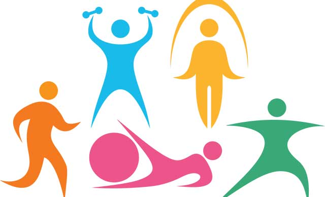 5 images representing people exercising.  the first one is orange and represents someone running.  the second one is blue and represents someone lifting weights.  the third one is pink and represents someone doing leg exercises with a pink exercise ball.  the fourth one is yellow and represents someone jumping rope.  the final one is green and represents someone doing yoga.