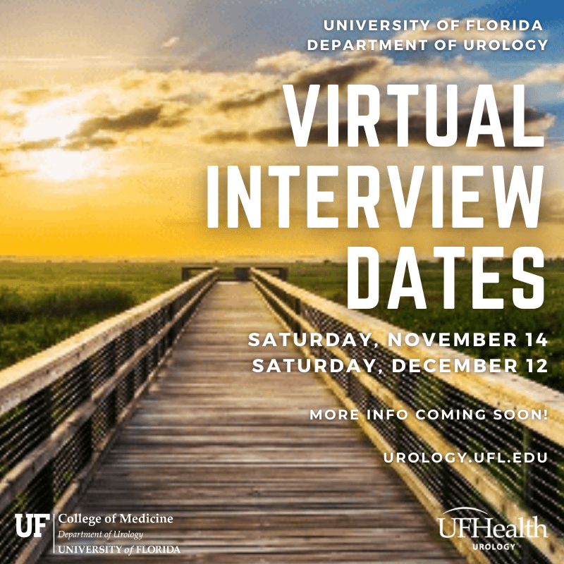 Background of photo is of a sunrise at paynes prairie.  the sky is a orange and blue color.  a long wooden bridge with green grass.  the text is as follows:  University of Florida  Department of urology,  Virtual Interview Dates, Saturday, November 14 Saturday, December 12, more info coming soon!  urology.ufl.edu