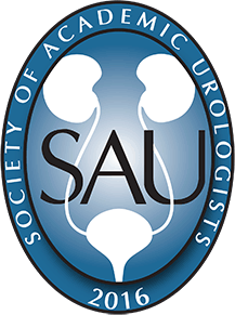 oval logo of the society of academic urologists. the outside of the logo is dark blue with the words society of academic urologists in white. the inside oval shape is dark blue with a lighter blue center. the initials sau are in black. a white diagram of of kidneys is seen in the background.