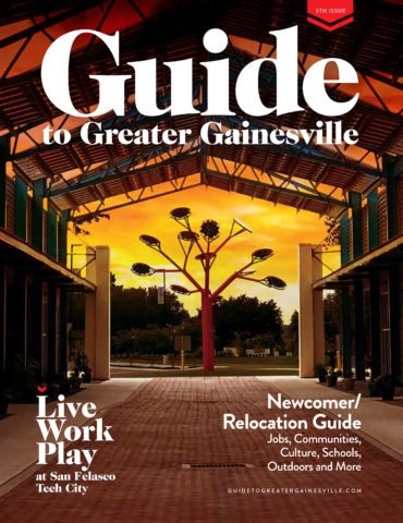 the guide to greater gainesville magazine cover.  it shows a large pavillion with an art piece at the end.  the words guide to greater gainesville is in large white letters across the top of the page.