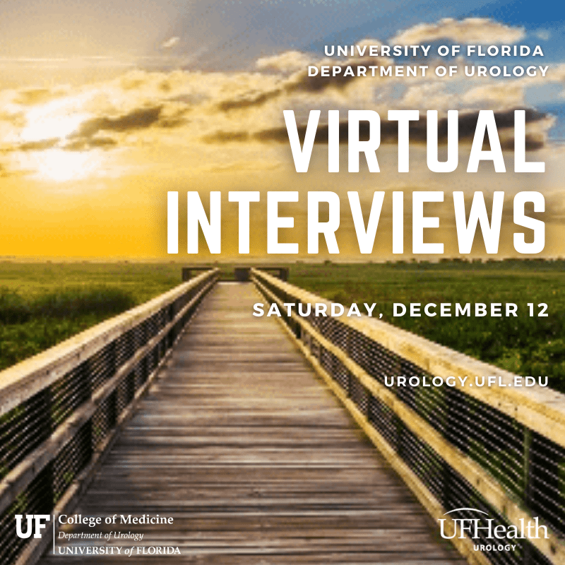 an invitation featuring a the sun rising at paynes prarie. it reads University of Florida Department of urology Virtual Interviews Saturday, December 12 urology.ufl.edu