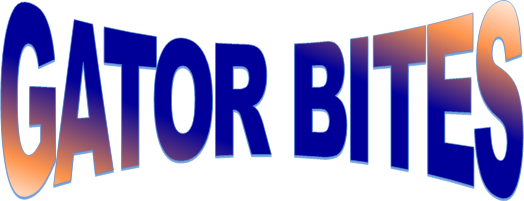 THE WORDS GATOR BITES  ARE WRITTEN IN A LARGE FONT WITH ORANGE AND BLUE COLORS