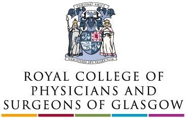 logo for the royal college of physicans and surgeons of glascow.  the logo shows a multi colored crest and the words below.