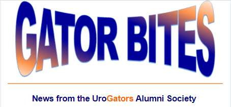 the words gator bites in orange and blue