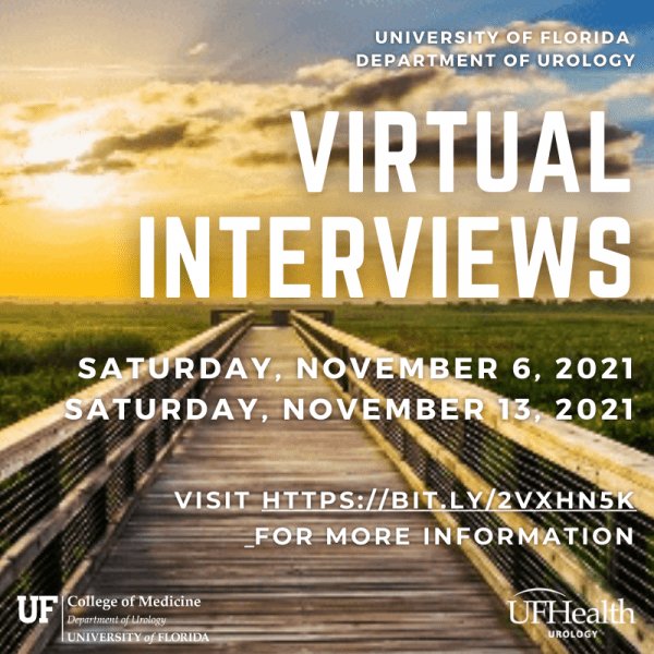 invitation card. the background of the card is the pier at paynes prarie. a long wooden pier that extends over the grass and marsh lands. the words on the invitation card are as follows, University of Florida Department of urology Virtual Interviews Saturday, November 6, 2021 Saturday, November 13, 2021 visit https://bit.ly/2VxhN5K for more information