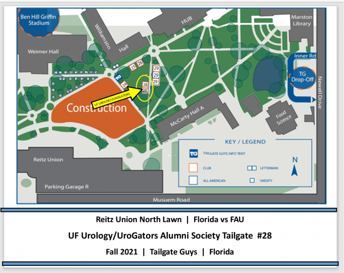 A MAP OF THE REIITZ UNION NORTH LAWN WITH TAILGATE TENTS NOTED.