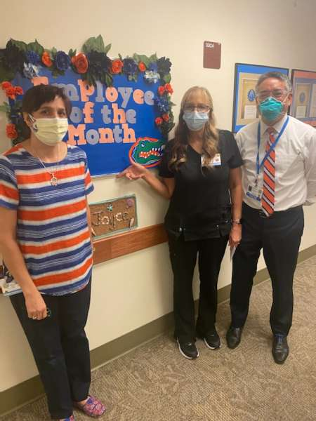 pictured left to right are rhea carnevale, joyce browning and dr li ming su.  Joyce is the September employee of the month.