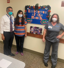 pictured left to right are doctor li ming su, rhea carnavale and tera caldwell.  Tera is the October employee of the month in the uf health urology medical plaza clinic.